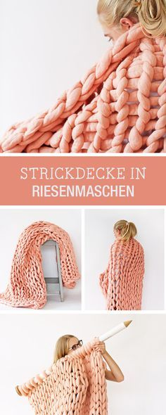 Gestrickte Decke aus Riesenmaschen, kuscheliges Winteraccessoire / xxl knitting: Comfy blanket with huge mashes, winter accessory via DaWanda.com