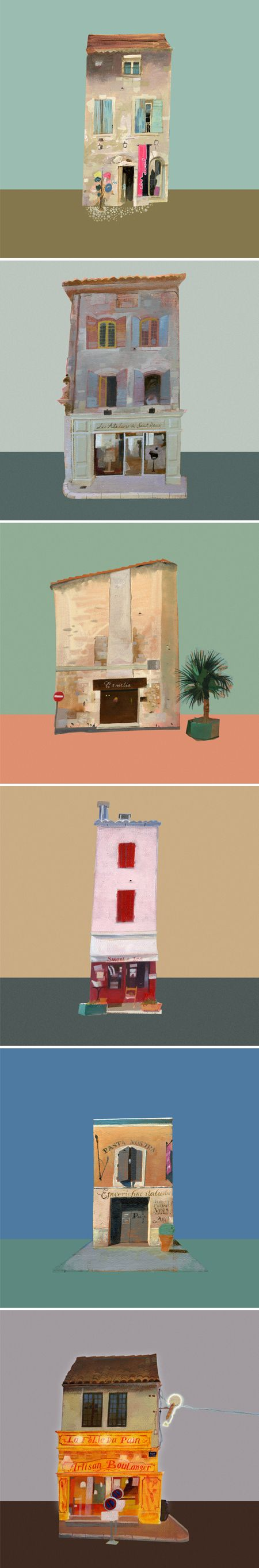 "johnnybull  ""Lovely little french storefronts, pulled out of their environments, dropped against color-blocked backgrounds, and painted oh so sweetly by Johnny Bull."""