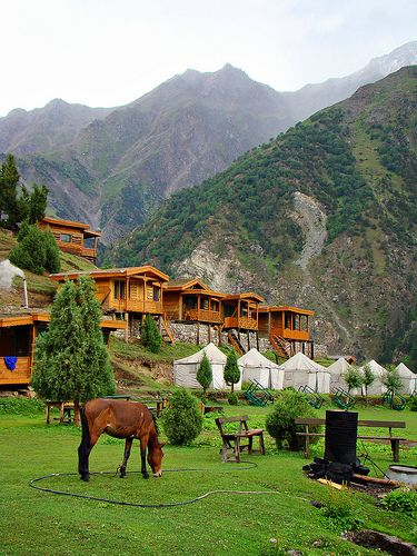 Huts and Tents at Raikot Sarai (Hotel) at Fairy Maedows. Fairy Meadows is the heart of exotic North Pakistan. It is located at the base of Nanga Parbat, which, at 8126 m, is the 9th highest mountain in the world.