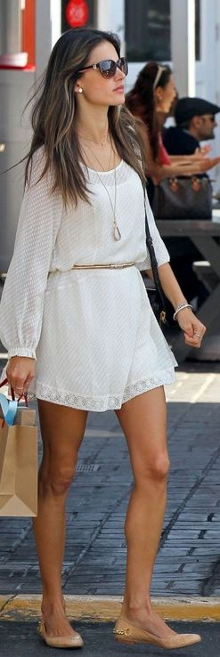 Spring style - Alessandra Ambrosio - white dress - long necklace - nude flats <3