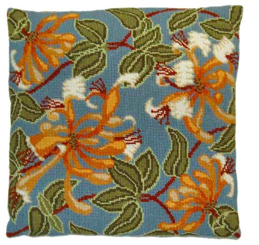 """Honeysuckle Counted tapestry kit 14"""" cushion"""