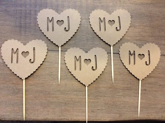 Rustic Wedding Initials Cupcake Topper Paper by PinkHoneycomb