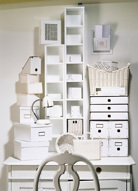 Boxes, baskets, cubbies...all the things you need to start a beautiful organized office.
