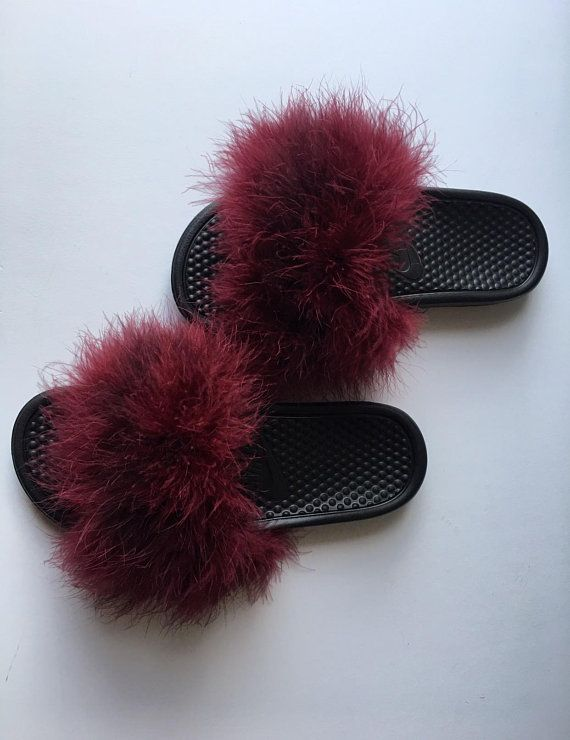 Nike Burgundy Fuzzy Fur Slides | Fur