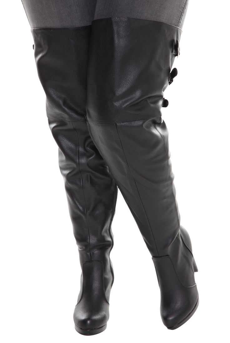 Thigh High Leather Boots Plus Size - Boot Hto