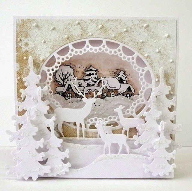Beautiful depth and dimension in this lovely Christmas card. Found on Kartkulec - ŚWIĄTECZNY NAMIOT