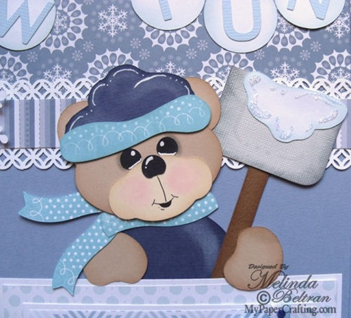 Cricut Paper Piecing Cartridge Critters Snow bear holding shovel paper piecing. Created with the Artiste cartridge. Direct Link: http://www.mypapercrafting.com/2013/01/artisteshowcase.html