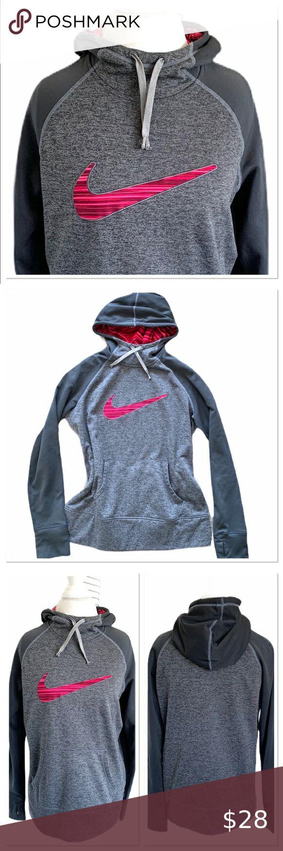 Nike Pullover Gray Pink Logo Gray Women's Hoodie Nike