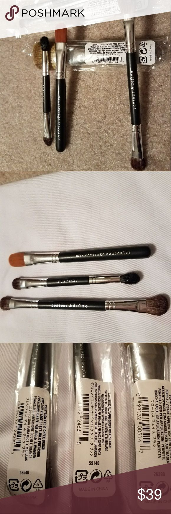 Bare Minerals Brushes (6) Six brand new brushes, 3 in original packaging 3 without, however never been used. You will receive 1 of each of the following brushes. 1. Flawless Application Face Brush 2. Double ended full tapered shadow and blush brush 3. Precision eye and cheek brush  4. Contour and define brush  5. Lid and crease brush  6. Max coverage concealer  Open to reasonable offers bareMinerals Makeup Brushes & Tools