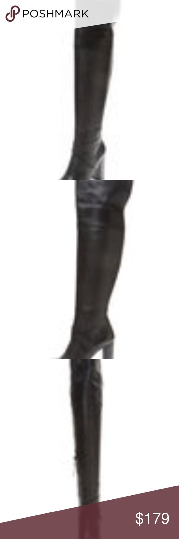 """Ava and Alden - High Heel Over the knee boot new! Description: High heel boot  Leather upper  Front criss-cross strap  Split detail at cuffs  Side zip closure  Man-made sole  Measurements: Heel height 3¾"""", shaft height 20"""", calf circumference 14½"""" Material: Leather upper with man-made sole Ava & Aiden Shoes Over the Knee Boots"""