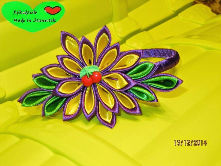 RĘKODZIEŁO  MADE BY STANIOLEK: Żółte na fiolecie, zielonym otulone i wiśniowym so...