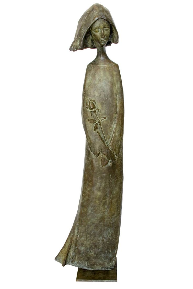 An Original #Sculpture by #TheoMegaw entitled: Girl With Rose #Bronze #SouthAfricanArtist For more please visit www.finearts.co.za