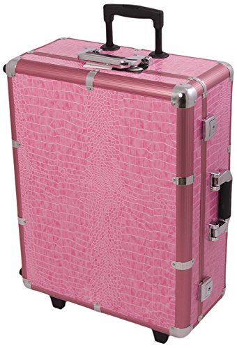 Craft Accents Professional Rolling Studio Makeup Case, Pink Crocodile, 672 Ounce >>> Learn more by visiting the image link to Amazon.com