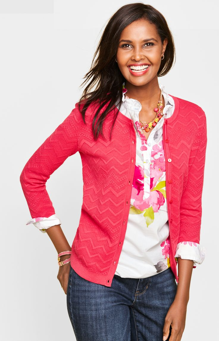 A pink cardigan is an essential layering piece - have to go try this on. Cute and bright.