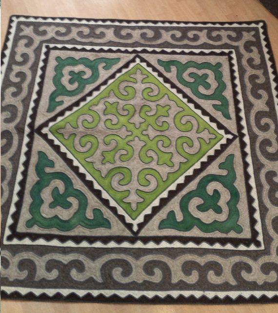 Wool Felted Shyrdak Rug from Kyrgyzstan 13 by AizadaImports