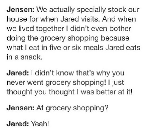 Jared and Jensen's Fridge. I think it's so cute that Jared did all the grocery shopping when they were roomies.