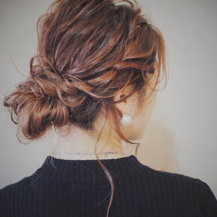 お呼ばれヘアセット*ほつれる毛がオシャレ度UP*