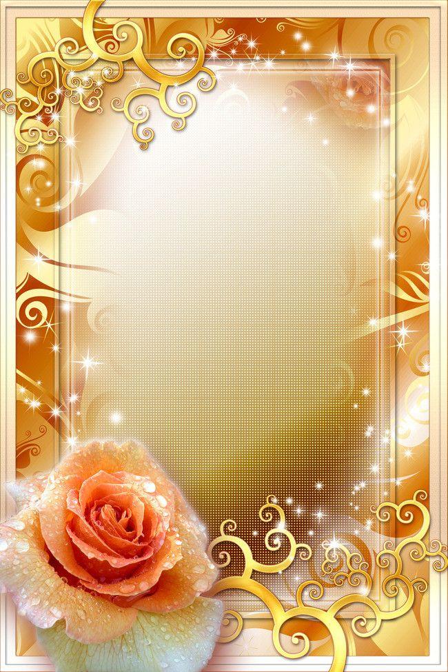 Golden Rose Frame Background Marriage Background Rose