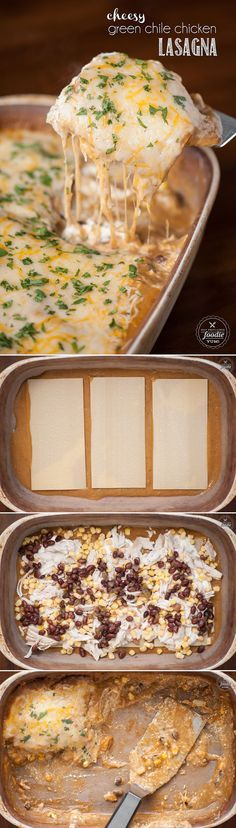 Spice up your routine by transferring the best enchiladas into this incredibly tasty Cheesy Green Chile Chicken Lasagna by swapping noodles for tortillas.