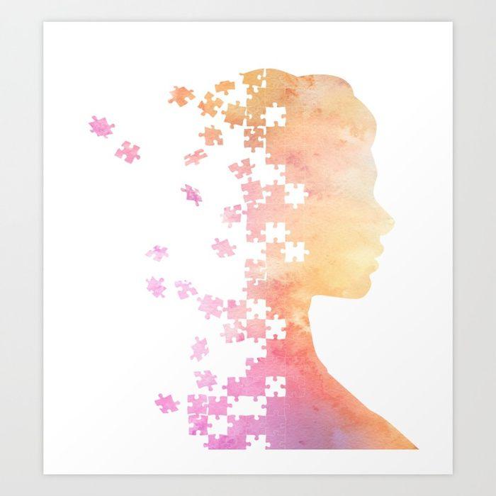 #puzzle #jigsawpuzzle #watercolor #silhouette #face #profile #femalehead #artprint #homedecor #decoration #wallart