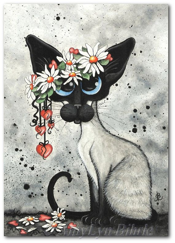 Siamese Cat Daisy and Hearts - Art Prints & ACEOs by Bihrle ck331