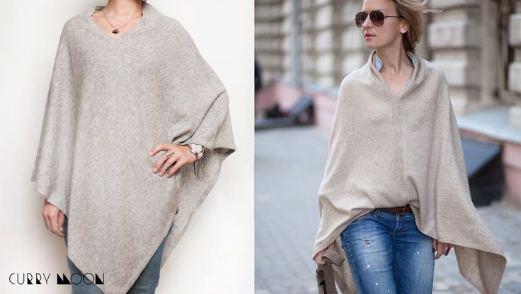Stylish cashmere poncho grey color for woman. Made from pashmina poncho is a light, soft, but very warm and comfortable. Autumn beautiful clothes. Great idea for gift or for girl who loves boho style. Size: S-M  US$85.00  #Сashmereponcho #greyponcho #pashminaponcho #warmponcho #boho styleponcho #ethnic poncho #cashmerecape #ladiesponcho