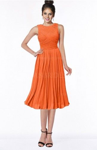 Tangerine Gorgeous A-line Sleeveless Chiffon Pick up Bridesmaid Dresses