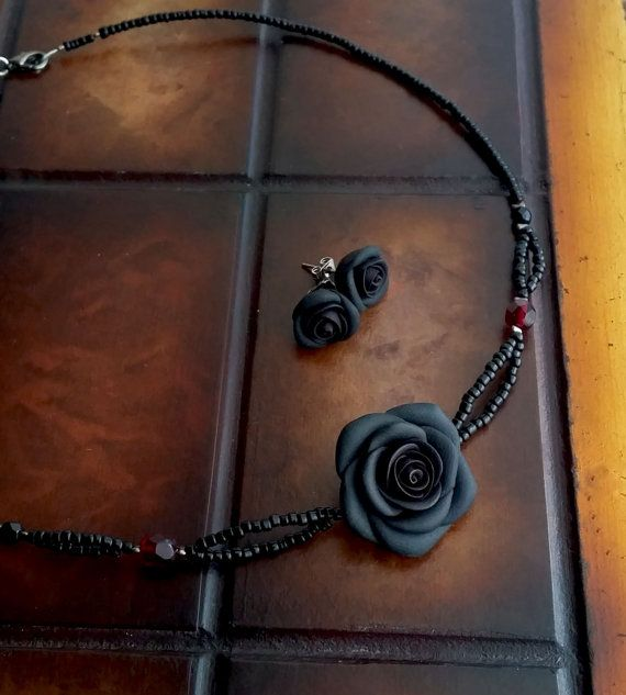 Black Rose Necklace And Stud Earrings  Black by EvasCreationsShop
