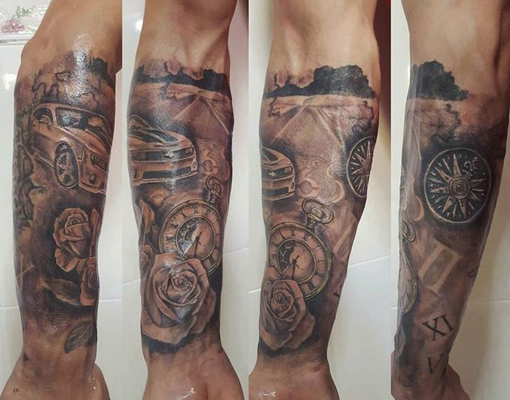 Media manga terminada // finished  #halfsleeve #tattoo #ink #tatuaje #mediamanga #sleeve #manga #car #coche #camaro #rosas #roses #clock #compass #realistictattoo #realism #route66 #ruta66 #tatuajerealista #tattoospain