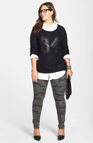 Free shipping and returns on Sejour Poplin Shirt, City Chic Sweater & Camo Cargo Pants (Plus Size) at Nordstrom.com.