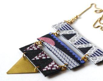 Driehoek ketting ketting stof textiel doek mozaïek door ScartoLab