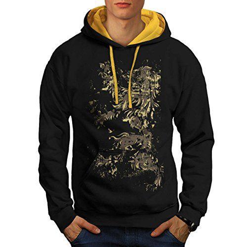 Lion Rampant Drapeau Écosse La Homme NOUVEAU Noir avec capuche doré M Capuchon Contraste | Wellcoda: Cet article Lion Rampant Drapeau…