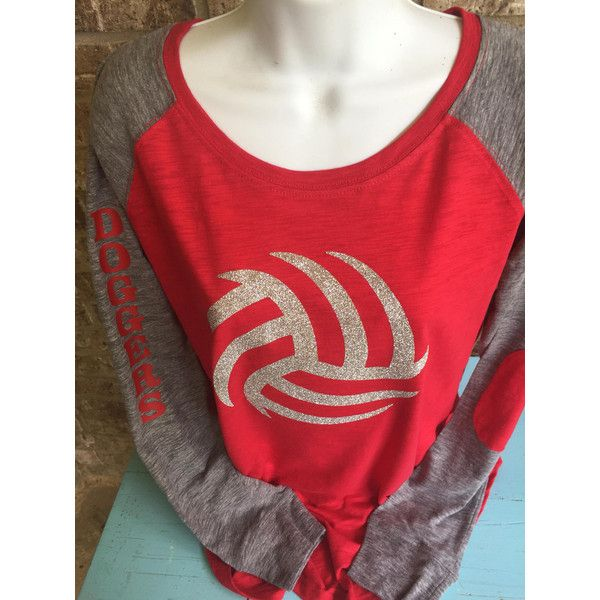 Volleyball Shirt Silver Glitter Volleyball Laces T-Shirt Volleyball... ($39) ❤ liked on Polyvore featuring tops, t-shirts, white, women's clothing, long-sleeve shirt, preppy t shirts, white fitted shirt, white long sleeve shirt and fitted t shirts
