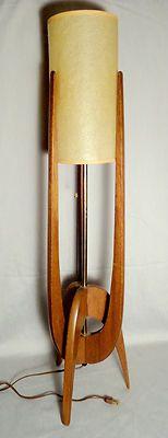 Danish Teak Table Lamp Eames Era Modern Mid Century Tripod Boomerang Rocket
