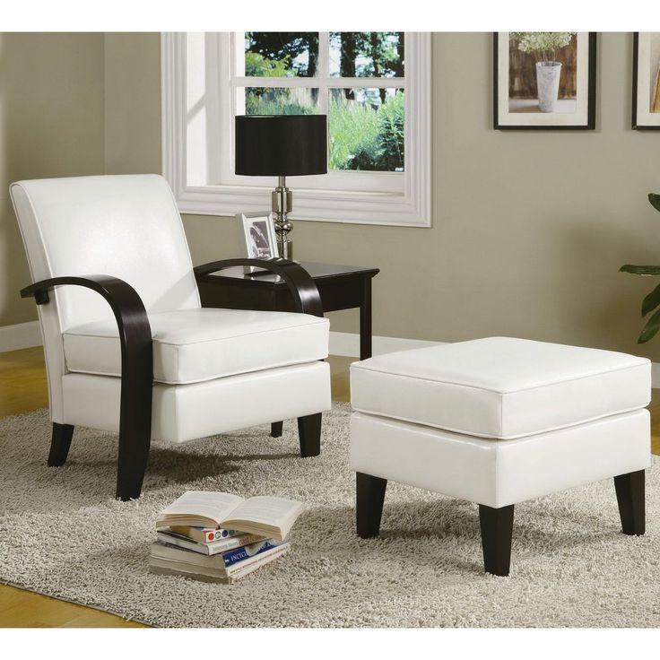 Accent Upholstered Arm Chair Ottoman Bonded Leather White Modern Home  Furniture #AccentChairOttoman #CasualContemporaryTraditional