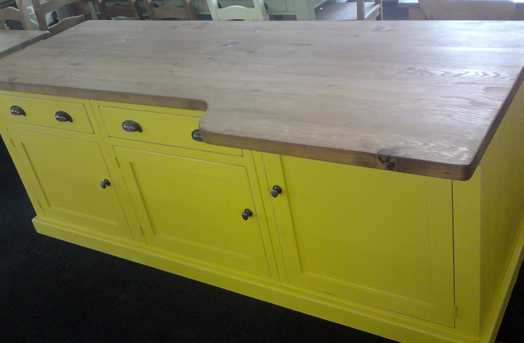 Reclaimed pine kitchen island with breakfast bar worktop, painted in Farrow & Ball 'babouche yellow' with waxed worktop & black metal handles ~ custom made any size!