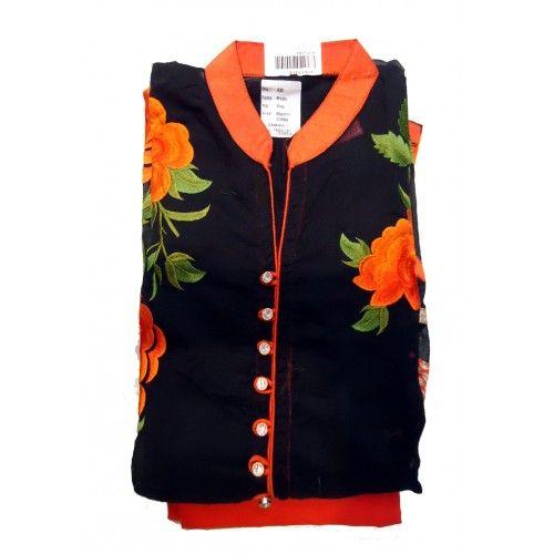 semistitched Orange With Black color Cotton Embroidery Work Design Salwar Suit