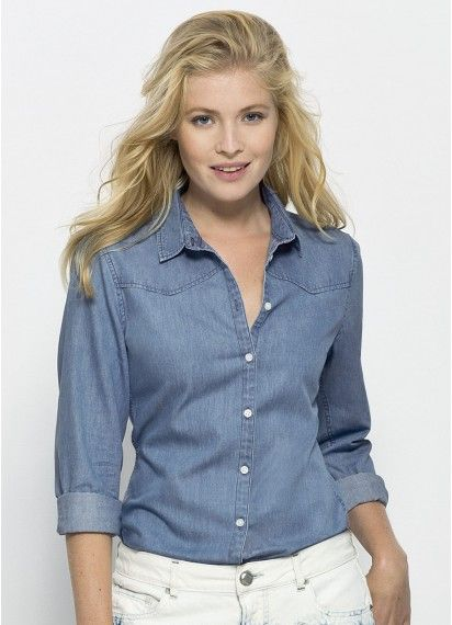 Gina ladies' #denimshirt in a Light Indigo Wash. Strut your style in this #fairtrade and #organiccotton button-up shirt. Made in Bangladesh.