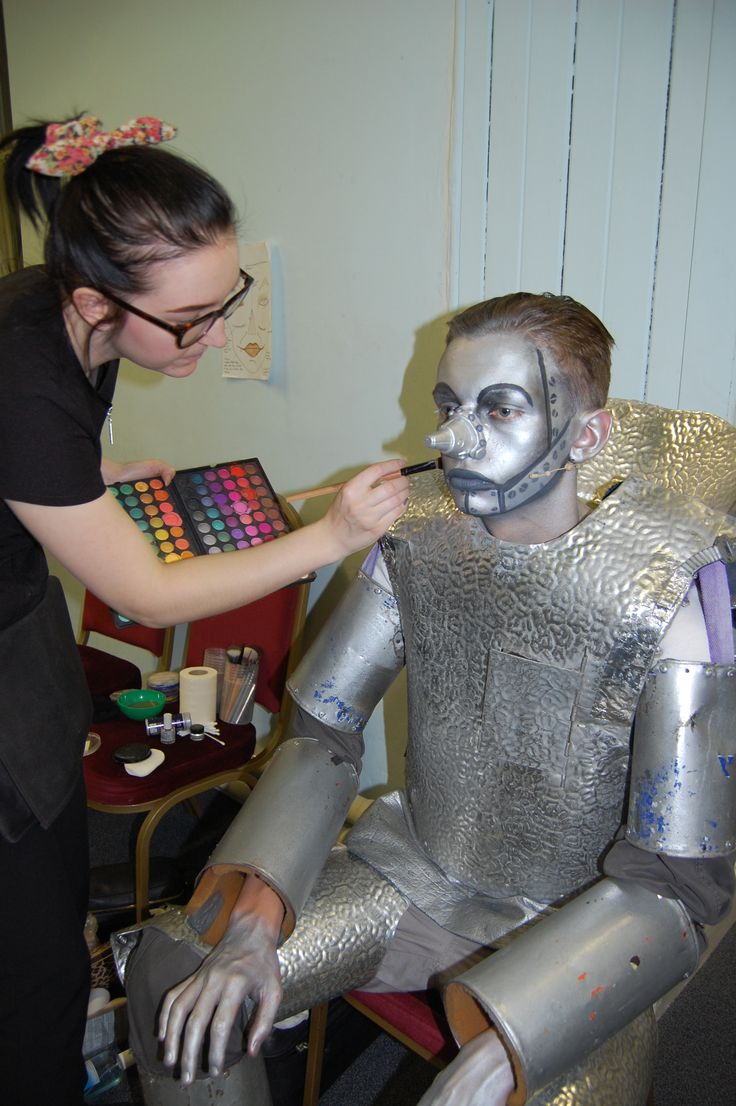 Sam level 3 hair & media make up backstage making up the tin man for Wickersley Young Stars The Wiz at Rotherham Civic Theatre 2014 Inspire Rotherham College Level 3 student