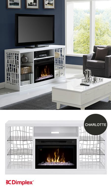 Elegantly crafted work of art or practical media console? You can have both with the sophisticated and contemporary Charlotte electric fireplace console. Lattice surrounding the firebox gives the design its unique charm and character. See the Charlotte at High Point Market, Dimplex Showroom 2308 #HPMRT #HomeDecor www.dimplex.com