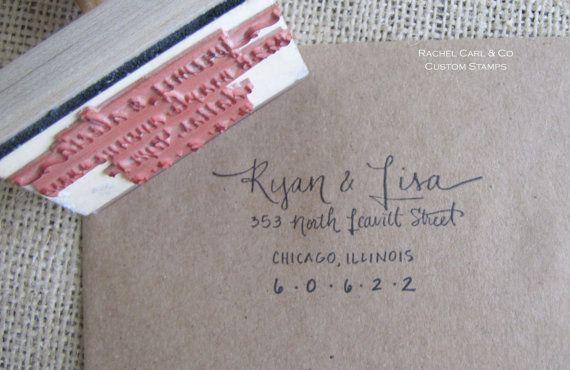 Return Address Wood Handle Rubber Stamp VINTAGE Calligraphy Style<3