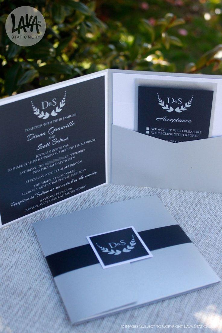 I had the pleasure of making the Harlow pocket invitation for Diana & Scott for their Canberra wedding. Available on the website or Etsy now :)  •••  #PocketInvitation #PocketInvites #RSVPCard #WishingWell #WishingWellCard #RSVPPostCard #LavaStationery #SilverPocket #SilverWedding #WhiteInk #whiteinkprinting #whiteinkinvitations #whiteprinting #ACTWedding #WeddingsAustralia #HandmadeInAustralia #DesignedInAustralia #SilverAndBlack #BlackAndSilver #BellyBand #EtsyDesigner #EtsyShop