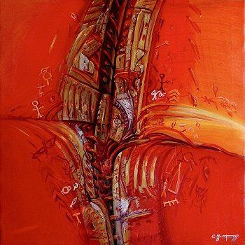 Carlo Fantauzzi ‒ «Ακούγοντας με τα χέρια», «Indiani D' America ‒ Amoreggiare»   (Ινδιάνοι ‒ Eρωτοτροπώντας), λάδι σε καμβά, 70Χ70.