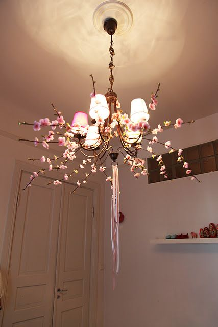 So inspired by Adele and her creativity.  Here's her cherry blossom chandelier for her little girl's room inspired by a walk in Central Park.