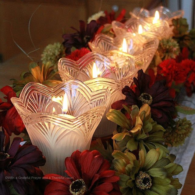 With a Grateful Prayer and a Thankful Heart: Table Centerpiece from Re-Purposed Light Globes