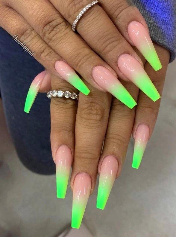30 Beautiful Summer Nail Art Color Ideas In 2020 Neon Green Nails Coffin Nails Long Green Nails