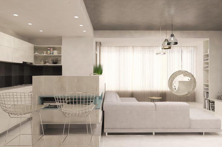 #white #emeraldgreen #beige #livingroom #lights #curtains #spots #sofa #chairs #table #shelves #wood #green #bigwindows #glasstable #whitechairs #ceilinglamp #kitchen
