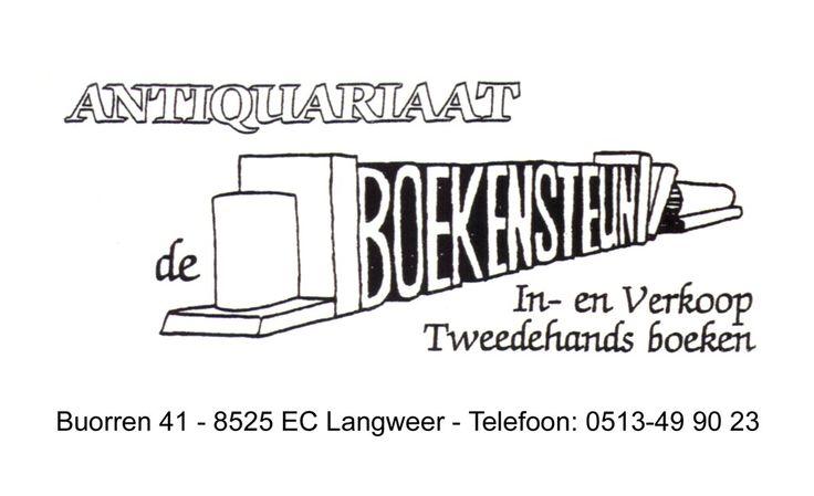 Antiquariaat De Boekensteun is misschien wel de laatst overgebleven tweedehands boekenwinkel in Zuid-West Friesland. Het heeft een breed assortiment, van kunst- tot kinderboeken. Natuurlijk ontbreken boeken over Griesland en watersport niet. Ook literatuur, poëzie, thrillers, boeken over de tweede wereldoorlog zijn ruim vertegenwoordigd. En, niet in de laatste plaats, is het een gezellige ontmoetingsplaats voor boekenliefhebbers en sneupers.