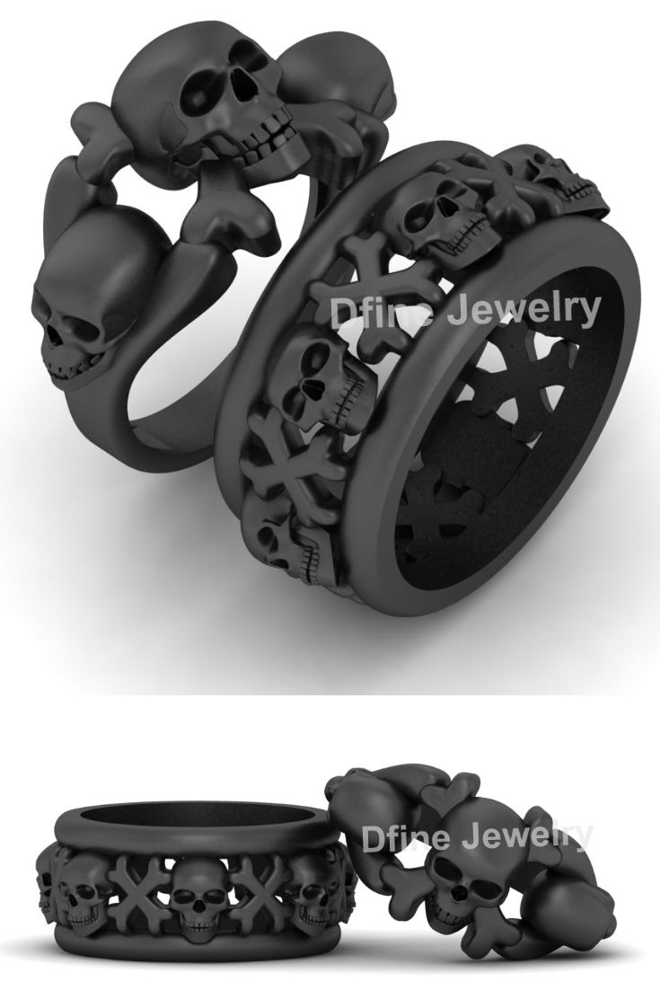 Jolly Roger Pirate Skull Ring Set Skull And Crossbones Wedding Ring Set Wedding Ring Bands Set Skull Ring Skull Engagement Ring