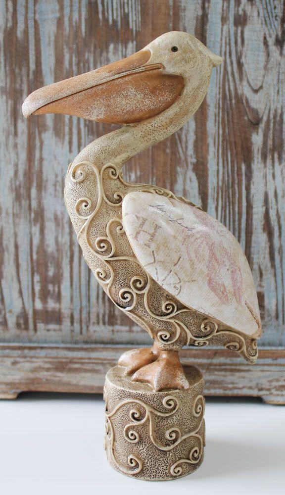 Large Decorative Flower Pots: Large Decorative Resin Pelican Figuine